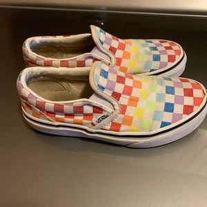 Sz 1 kids rainbow check vans